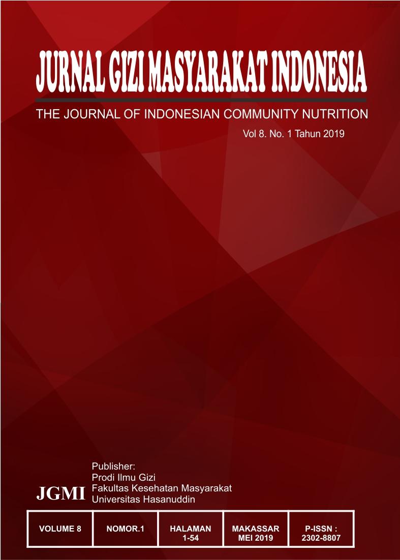 Jurnal Gizi Masyarakat  Indonesia Volume.8 No. 1 2019